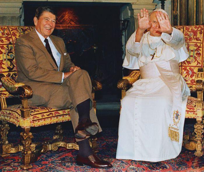 Рональд Рейган и папа Иоанн Павел II