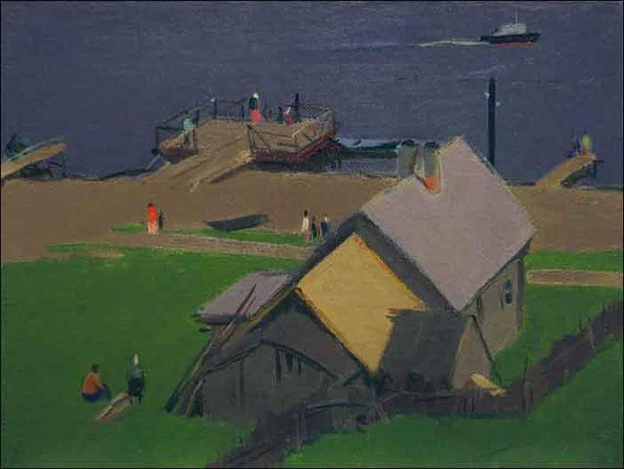 С. Осипов «Пристань на Волге», 1959