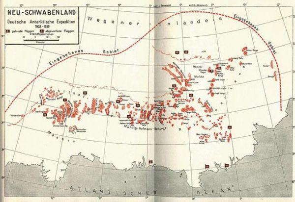 Новая Швабия на карте немецкой антарктической экспедиции 1938-1939 гг. Пунктирной линией обозначена исследованная область материка.