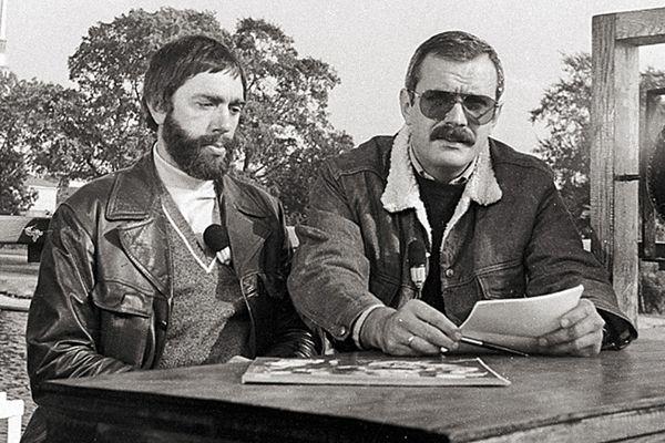 Эдуард Артемьев и Никита Михалков на записи телевизионной передачи в Ленинграде, 1982 год