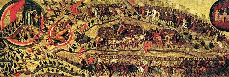 Икона «Благословенно воинство Небесного Царя» - шествие русских воинов из покорённой Казани в Небесный Иерусалим (Москву)
