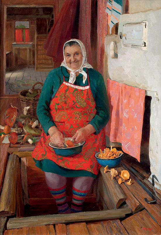 Русские пожилые женщины в деревне
