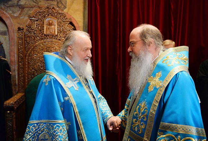 Во время официального визита в Москву на празднование Введения во храм Пресвятой Богородицы, декабрь 2014