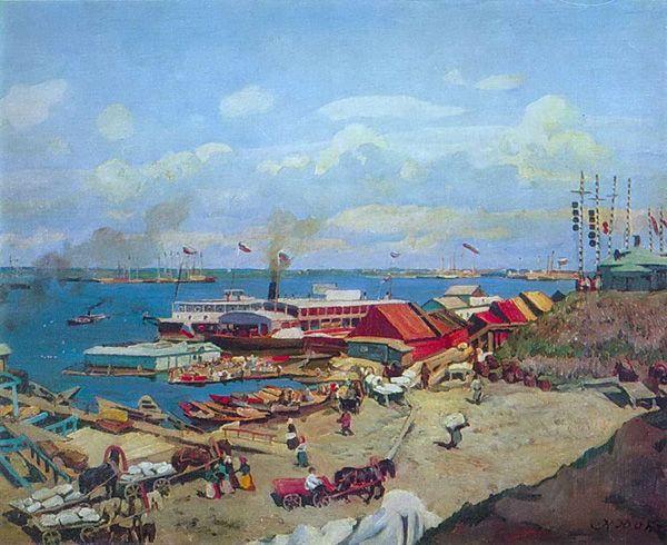 К. Юон «Волжские пристани», 1911