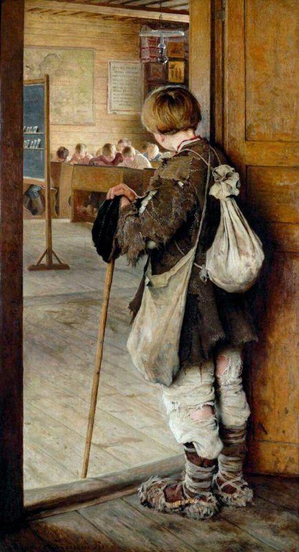 Н. Богданов-Бельский. «У дверей школы»
