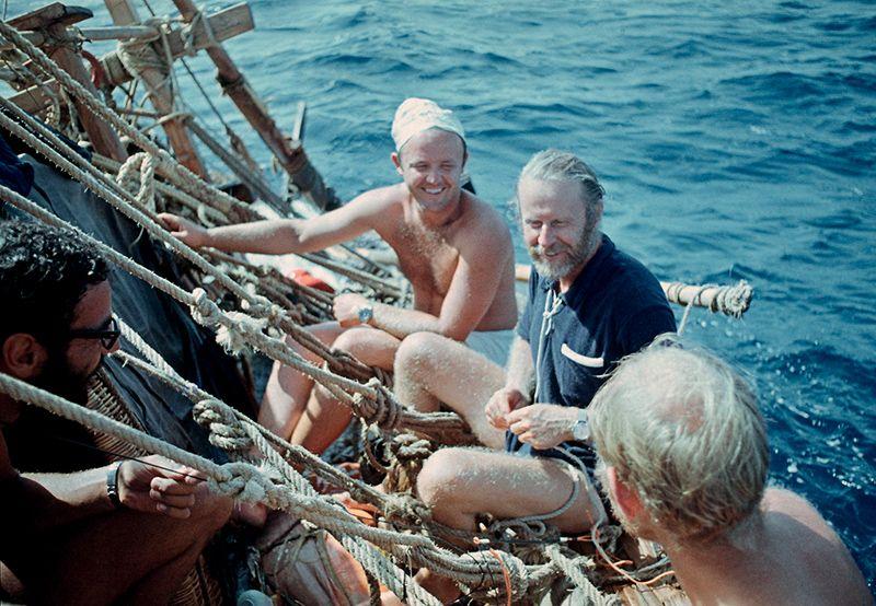 юрий сенкевич и тур хейердал на папирусной лодке
