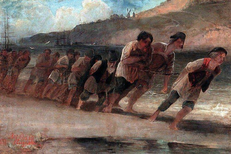 А. Саврасов «Бурлаки на Волге», 1871