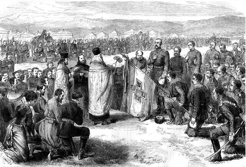 Освящение в Плоештах болгарского знамени, поднесенного городом Самарой. Начало июня 1877. Гравюра Э. Даммюллера. 1877