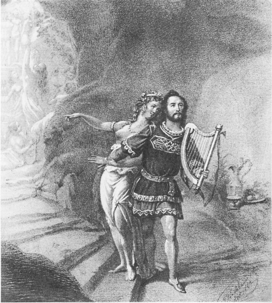 Первая постановка «Тангейзера». Дрезден 1845год. Йозеф Тихачек— Тангейзер иВильгельмина Шредер-Девриент— Венера
